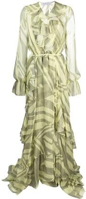 Faith Connexion Silk Print Ruffle-Wrap Dress