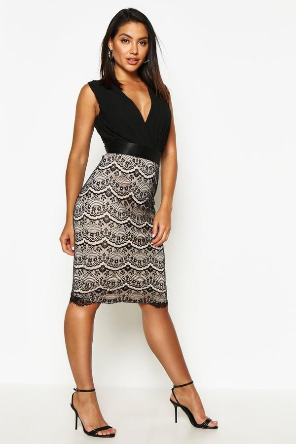 boohoo Boutique 2 in 1 Bodycon Midi Dress