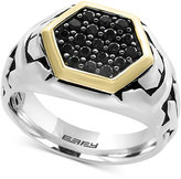 Effy Men's Black Sapphire Ring (7/8 ct. t.w.) in Sterling Silver and 18k Gold