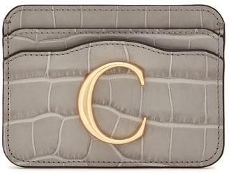 Chloé C Crocodile-effect Leather Card Holder