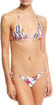 Emilio Pucci Ranuncoli Two-Piece Bikini Set, White/Pink