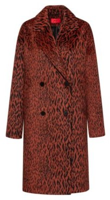HUGO BOSS Relaxed Fit Double Breasted Coat In Leopard Fabric - Brown