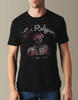 True Religion Mens Hand Picked Skeleton Moto Crew Neck Tee - (black)