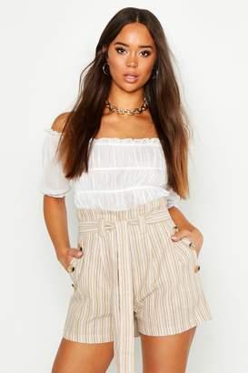 boohoo Linen Look Tie Side Shorts