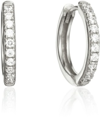 Lily & Roo Silver Diamond Style Large Hoop Earrings