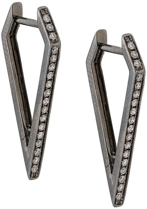 Eva Fehren 18kt white gold dagger diamond hoops