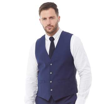 French Connection Mens Plain Ticket Pocket Waistcoat Blue