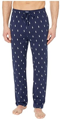 Polo Ralph Lauren Knit Jersey Covered Waistband PJ Pants (Cruise Navy/Nevis All Over Pony Player) Men's Pajama
