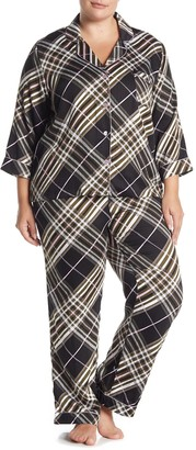 Joe Fresh Plaid 3/4 Sleeve Top & Pants Pajama 2-Piece Set (Plus Size)