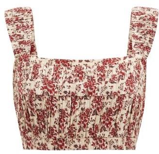 Sir - Flore Floral-print Cotton-blend Crop Top - Red Print