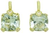 Judith Ripka 18K Yellow Gold & Green Amethyst Pave Diamond Earrings