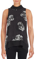 Ellen Tracy Floral Print Chiffon Sleeveless Top