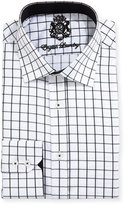 English Laundry Large Windowpane-Check Dress Shirt, Black/White