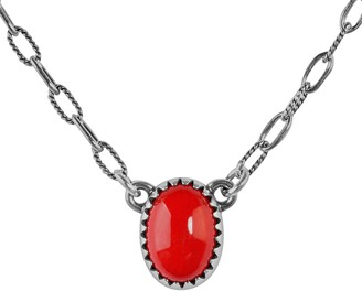 American West Sterling Santa Fe Sunrise Red Coral Necklace