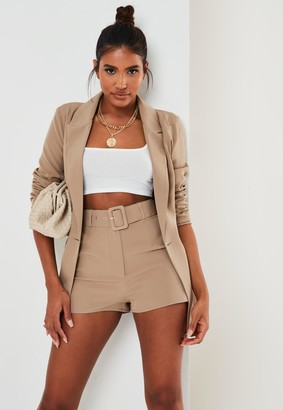 Missguided Tall Stone Co Ord Self Fabric Belted Shorts