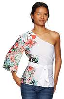 XOXO Women's Printed One Shoulder Top with Tie