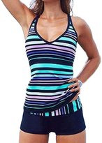EARNUGE Women's Stripes Tankini 2pcs Plus Size Sexy Halter Soft Elastic Swimsuit Set