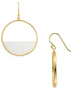 Argentovivo Mother-of-Pearl Open Circle Drop Earrings in 18K Gold-Plated Sterling Silver