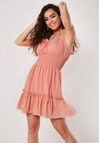 Missguided Coral Shirred Waist Bardot Mini Dress