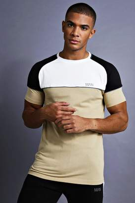 boohoo MAN Muscle Fit Raglan T-Shirt With Panelling