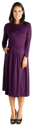 24/7 Comfort Apparel 24seven Comfort Apparel Long Sleeve Fit and Flare Maternity Midi Dress