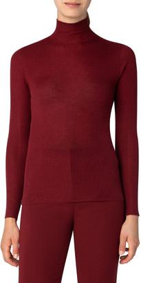 Akris Mock-Neck Seamless Fine Rib Sweater