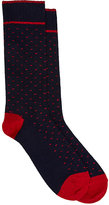 Barneys New York MEN'S BIRDSEYE MID-CALF SOCKS-NAVY SIZE S/M