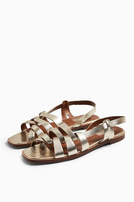 Topshop Womens Loyal Gold Leather Strap Flat Sandals - Gold