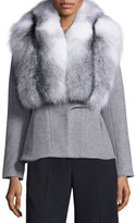 Jonathan Simkhai Wool-Cashmere Coat w/Removable Fox Fur Collar