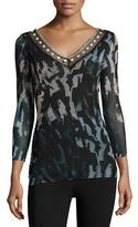Fuzzi Embroidered V-Neck Abstract-Print Tulle Top, Black/Blue