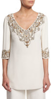 Marchesa 3/4-Sleeve V-Neck Embellished Tunic, Ivory