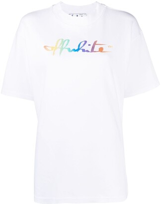 Off-White rainbow script logo print Tomboy T-shirt