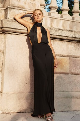 Nasty Gal Womens Big Entrance Satin Maxi Dress - Black - 6