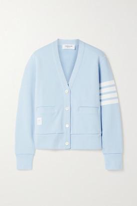 Thom Browne Striped Cotton-jersey Cardigan - Light blue