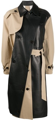 Rokh Two-Tone Leather Trench Coat