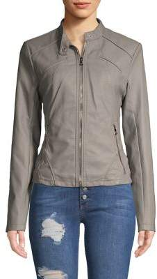 GUESS Scuba Front Zip Vegan Leather Jacket
