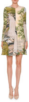 Stella McCartney Long-Sleeve Landscape-Print Swing Dress, Multi