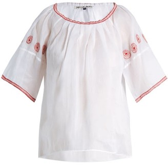 Jupe By Jackie Sazerac Embroidered Cotton-organdy Top - Womens - White