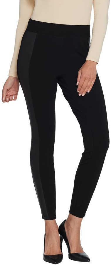 Halston H By H by Regular Ponte Leggings with Faux Leather Details