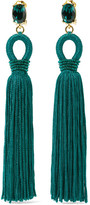 Oscar de la Renta Tasseled Silk, Gold-tone And Swarovski Crystal Clip Earrings - Emerald