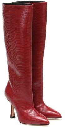Stuart Weitzman Parton croc-effect leather knee-high boots