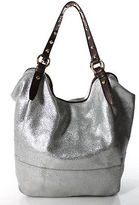 J.Crew J Crew Metallic Silver Brown Leather Gold Accent Large Hobo Handbag