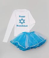 Beary Basics White 'Happy Hanukkah' Tee & Pettiskirt - Infant, Toddler & Girls