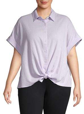 Lord & Taylor Plus Cotton Button-Down Tie-Front Shirt