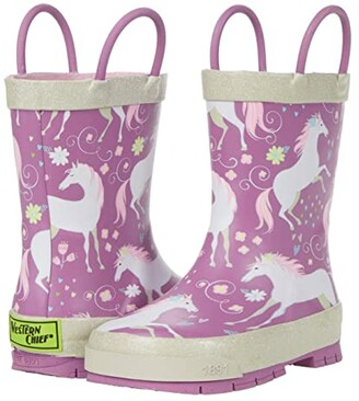 Western Chief Fancy Horse Rain Boots (Toddler/Little Kid/Big Kid) (Lilac) Girl's Shoes