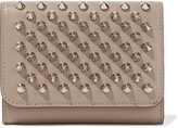 Christian Louboutin Macaron Mini Spiked Leather Wallet - Beige