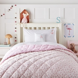 The White Company Reversible Floral Pom-Pom Quilt, Pink, Cot Bed