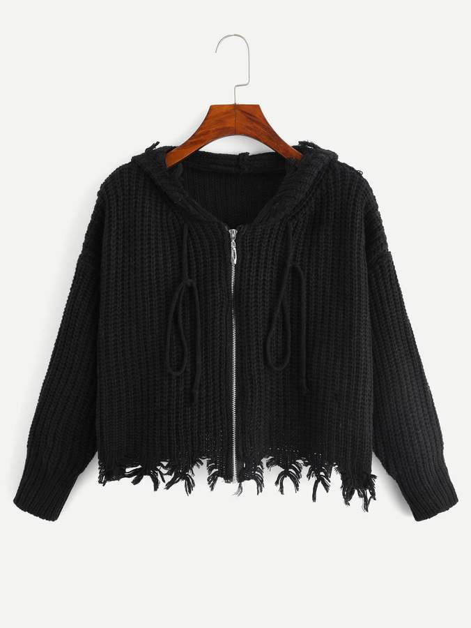Drop Shoulder Raw Hem Hooded Crop Sweater Coat