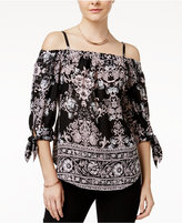 Amy Byer Juniors' Printed Cold-Shoulder Peasant Top