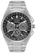 Citizen Cc9008-50e Chronograph Date Eco-drive Titanium Bracelet Strap Watch, Silver/black